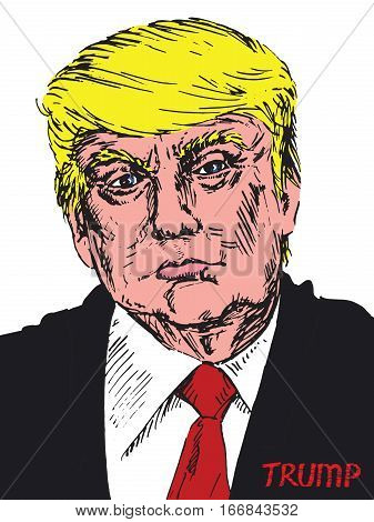 Portrait of President of America Donald Trump, drawn by hand vector illustration in pop art style
