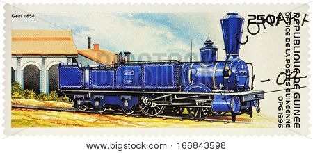 MOSCOW RUSSIA - January 26 2017: A stamp printed in Guinea shows old steam locomotive Genf Swiss Central Railway (1858) series