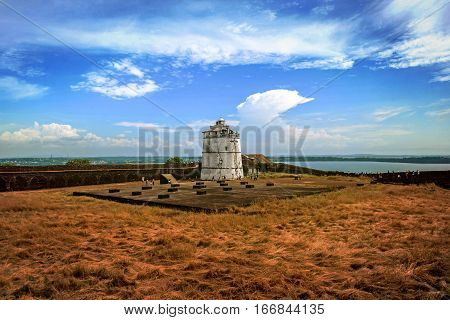 Portuguese fort Aguada. Goa. Candolim. India. Ancient fort and lighthouse built in the 17th century.