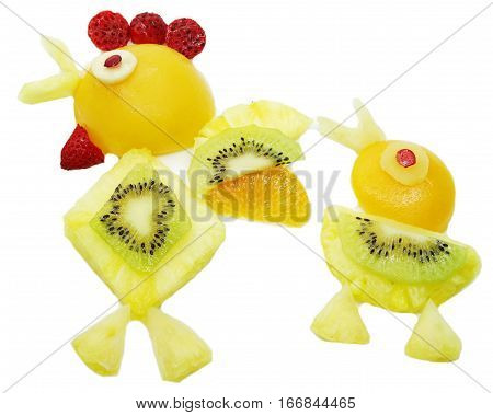 creative fruit dessert for child funny form bird and chick