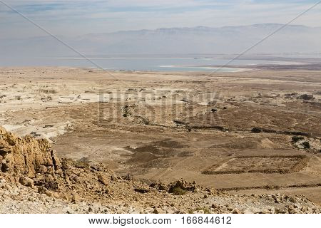 View from Masada to the Dead Sea Israel