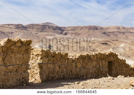 Masada and view to the jedaean desert Israel
