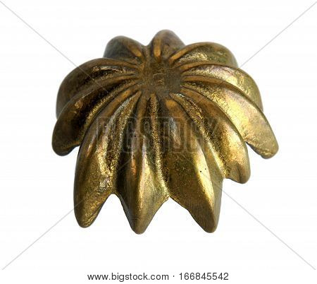 Antique bronze casket or jewelry box Flower isolated on white background