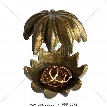 Antique bronze casket Flower with Jewelry isolated on white background