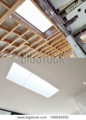 New Frame For Ceiling Roof In Construction