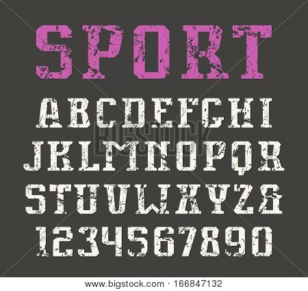 Serif font and numerals in urban style with shabby texture. Print on black background