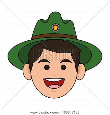happy Forest ranger icon over white background. colorful design. vector illustration