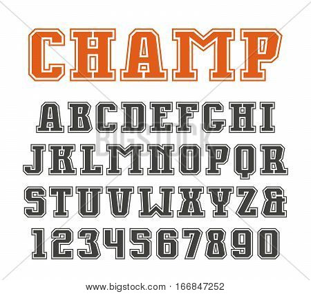 Slab serif font and numerals with contour. Isolated on white background