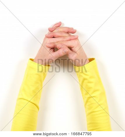 Hands In Yellow Jacket And Gestures