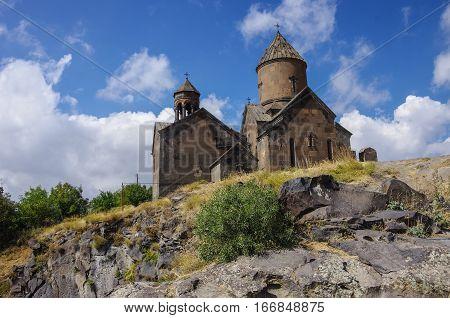Medieval armenian monastery Saghmosavank, located near Kasakh River. Ashtarak district, Armenia