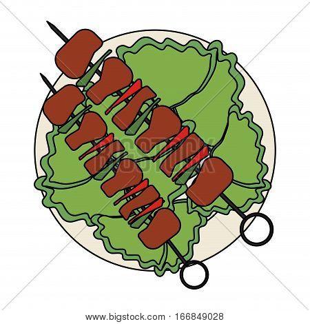 skewer with grilled food over white background. steak house concept. colorful design. vector illustration