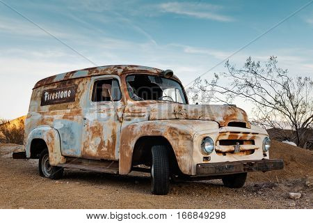 Nelson USA - November 22: Old rusty truck in Nelson Nevada Ghost town on November 22 2016