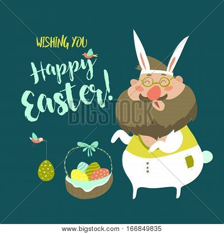 Funny Man in Easter Bunny Costume. Vector Illustration