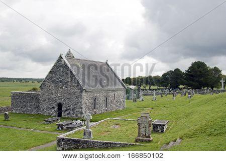 ruins and landscape Irish Celtic crosses ruins and landscape