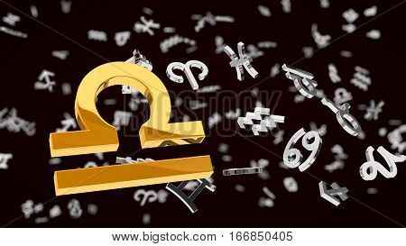 astrology themed 3d illustration with choosen one libra sign and other symbols in background.