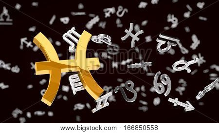 astrology themed 3d illustration with choosen one pisces sign and other symbols in background.
