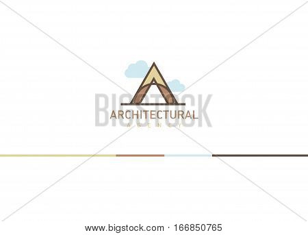 Logo On The Theme Of Architecture. Linear Letter A With Clouds.