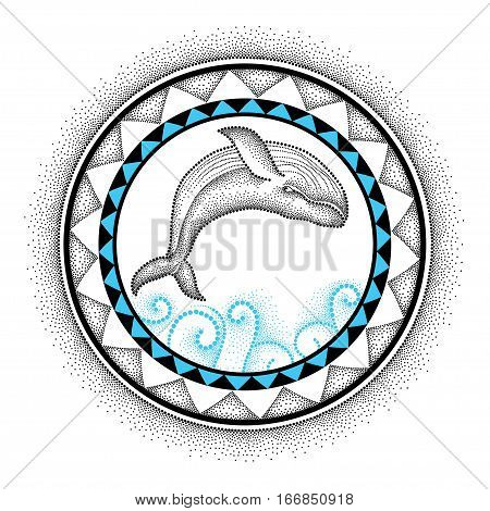 Vector illustration of dotted humpback whale and round mandala in black and blue isolated on white background. Aquatic theme with whale for summer or tattoo design in trendy dotwork style