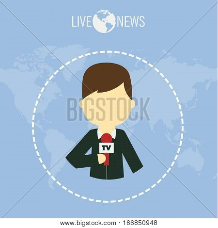 Journalist live news reporter flat designmedia tv background illustration vector stock