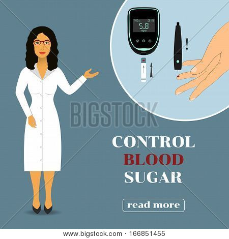 Device for measuring the blood sugar level. doctor in lab coat showing how to measure the level of glucose in the blood.