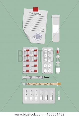 medical products - syringes drugs pills prescription in a flat design