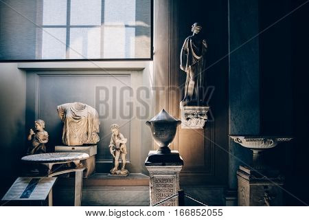 Vatican, Rome, Italy - June 4, 2016: Marble Statue In One Of The Exhibition Rooms In Vatican Museum