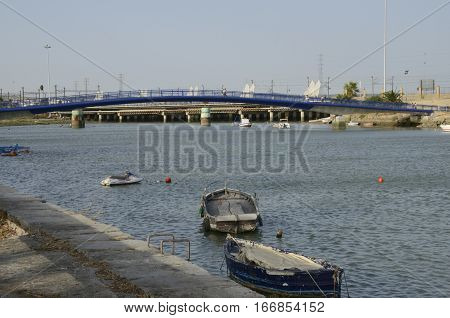 THE PORT OF SAINT MARY, SPAIN - AUGUST 1, 2013: Bridge over the river Guadalete located in the Port of Saint Mary Cadiz Spain.