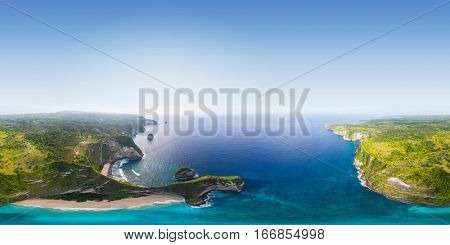 Seamless 360 degrees spherical aerial panorama of the coast of the island of Nusa Penida, Bali, Indonesia