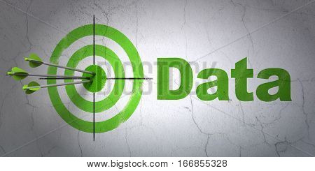 Success Data concept: arrows hitting the center of target, Green Data on wall background, 3D rendering