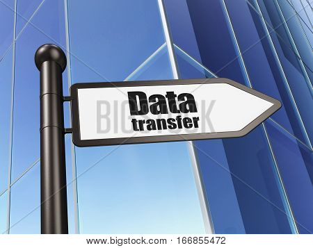 Data concept: sign Data Transfer on Building background, 3D rendering