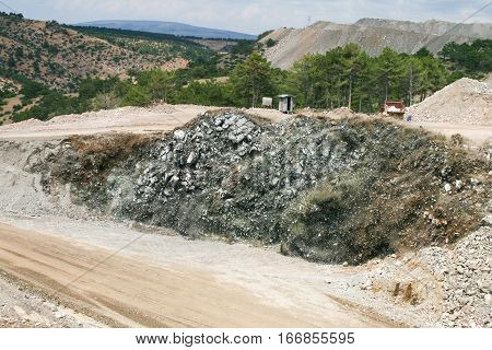 Quarry blasting and powerful explosion at open mine