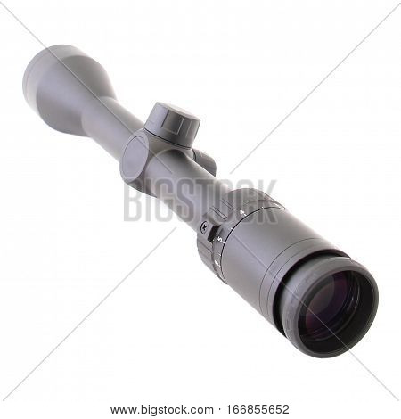 Image of a rifle scope sight used for aiming with a weapon.