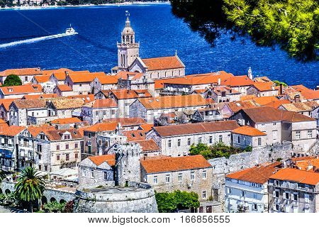 Aerial view at old town Korcula, popular summer touristic destination in Croatia, european travel destination.