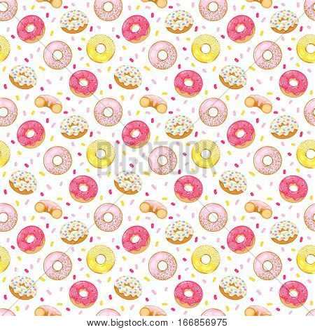 Cute sweet colorful donut seamless pattern. Chocolate or cream yummy cookie topping round dessert food. Candy decoration color glazed pastry delicious.