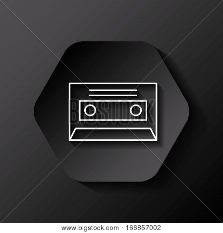 hexagon button with retro casette icon over black background. colorful design. vector illustration