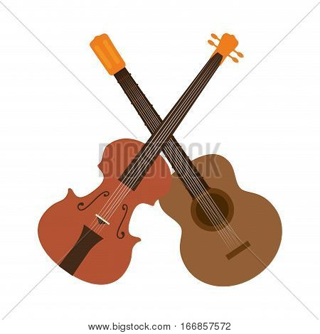 guitar and chello instrument isolated icon vector illustration design