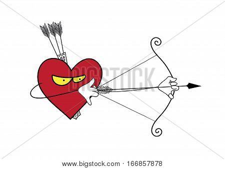 Heart is a lonely hunter. Vector cartoon heart attack. Vector illustration of heart Valentines Day