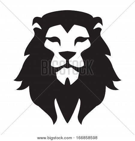 Lion head logo template. Animal wild cat face graphic sign. Pride strong power concept symbol