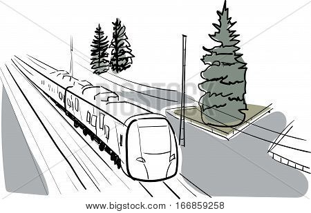 Vector sketch and watercolor high-speed train in Russia