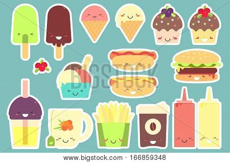 Fast food sticker set. Vector illustration. Isolated.
