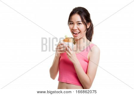 Beautiful Asian Healthy Girl Enjoy Eating  Hamburger.