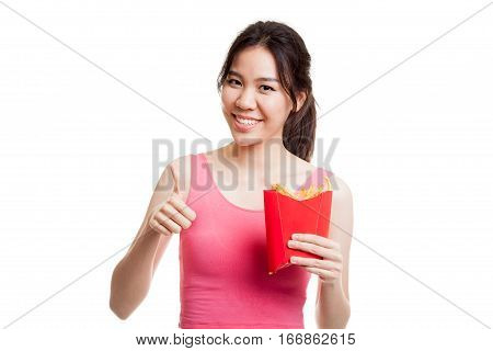 Asian Healthy Girl Eat  French Fries Show Thumbs Up.