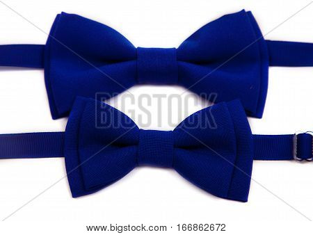 Blue bow tie isolated on white background. Big and small for dad and child