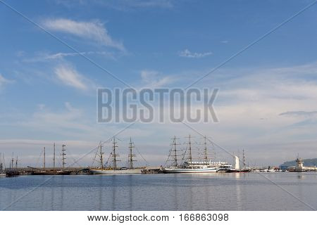 VARNA, BULGARIA - APRIL 30, 2014: Varna is a host of the prestigious international maritime event for a second time - the SCF Black Sea Tall Ships Regatta. Panorama.