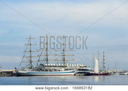 VARNA, BULGARIA - APRIL 30, 2014: Varna is a host of the international maritime event - the SCF Black Sea Tall Ships Regatta. The Russian