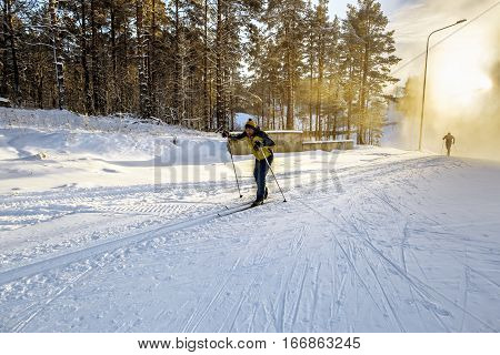 A skier run on the slopes skiing in the woods at sunset