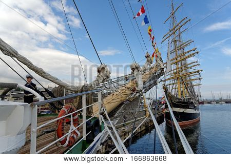 VARNA, BULGARIA - APRIL 30, 2014: Varna is a host of the prestigious international maritime event for a second time - the SCF Black Sea Tall Ships Regatta. The Russian