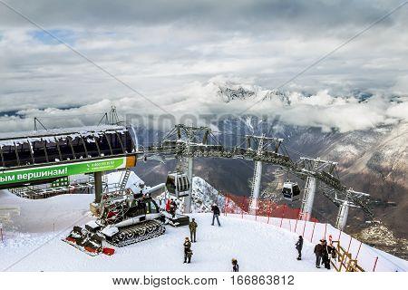 Sochi.Russia.Jan 6 2011.ski lift in Sochi Krasnaya Polyana on the background of beautiful mountain scenery