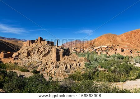 View of the Ait Ali Kasbah and village in the Dades Gorge Morocco
