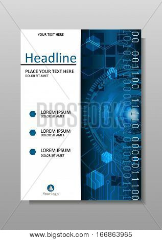 Head-Up Display HUD. Cover design A4. Journals portfolio monographs and magazines. Vector. Futuristic circles with internet and business interface background with numbers. Infographic data.